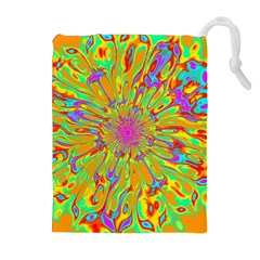 Magic Ripples Flower Power Mandala Neon Colored Drawstring Pouches (extra Large)