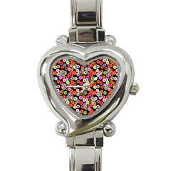 Colorful Yummy Donuts Pattern Heart Italian Charm Watch by EDDArt