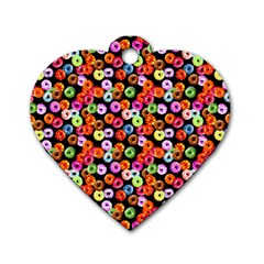 Colorful Yummy Donuts Pattern Dog Tag Heart (one Side)