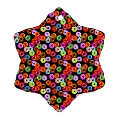 Colorful Yummy Donuts Pattern Snowflake Ornament (two Sides) by EDDArt