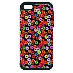 Colorful Yummy Donuts Pattern Apple Iphone 5 Hardshell Case (pc+silicone) by EDDArt