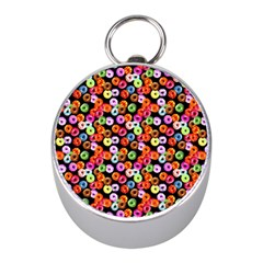 Colorful Yummy Donuts Pattern Mini Silver Compasses