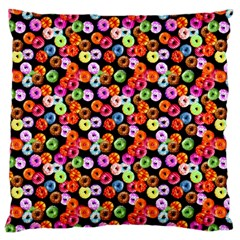 Colorful Yummy Donuts Pattern Large Flano Cushion Case (one Side) by EDDArt