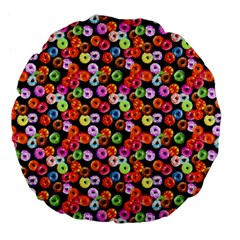 Colorful Yummy Donuts Pattern Large 18  Premium Flano Round Cushions