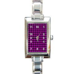 Lumberjack Fabric Pattern Pink Black Rectangle Italian Charm Watch by EDDArt