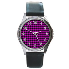 Lumberjack Fabric Pattern Pink Black Round Metal Watch by EDDArt