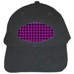 Lumberjack Fabric Pattern Pink Black Black Cap by EDDArt