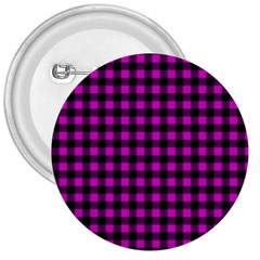 Lumberjack Fabric Pattern Pink Black 3  Buttons by EDDArt