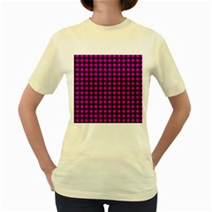 Lumberjack Fabric Pattern Pink Black Women s Yellow T-shirt by EDDArt