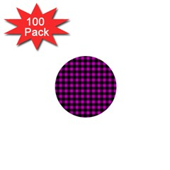 Lumberjack Fabric Pattern Pink Black 1  Mini Buttons (100 Pack)  by EDDArt
