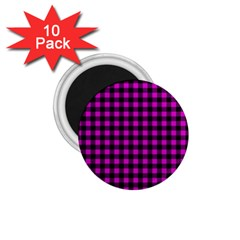 Lumberjack Fabric Pattern Pink Black 1 75  Magnets (10 Pack)  by EDDArt