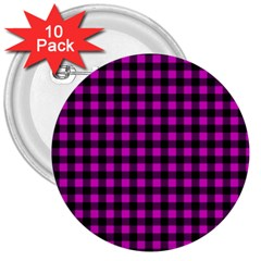 Lumberjack Fabric Pattern Pink Black 3  Buttons (10 Pack)  by EDDArt