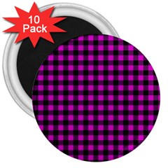 Lumberjack Fabric Pattern Pink Black 3  Magnets (10 Pack)  by EDDArt