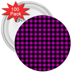 Lumberjack Fabric Pattern Pink Black 3  Buttons (100 Pack)  by EDDArt