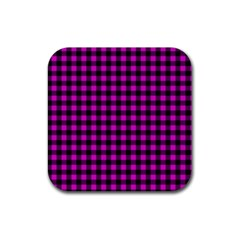 Lumberjack Fabric Pattern Pink Black Rubber Coaster (square)  by EDDArt