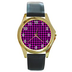 Lumberjack Fabric Pattern Pink Black Round Gold Metal Watch
