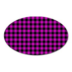 Lumberjack Fabric Pattern Pink Black Oval Magnet by EDDArt