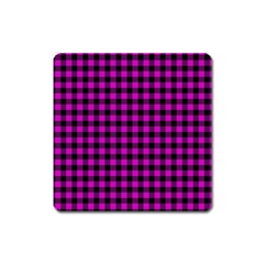 Lumberjack Fabric Pattern Pink Black Square Magnet by EDDArt