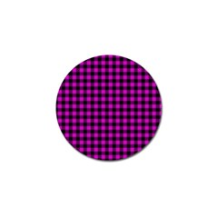 Lumberjack Fabric Pattern Pink Black Golf Ball Marker