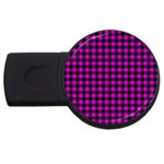 Lumberjack Fabric Pattern Pink Black USB Flash Drive Round (2 GB) Front
