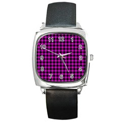 Lumberjack Fabric Pattern Pink Black Square Metal Watch by EDDArt