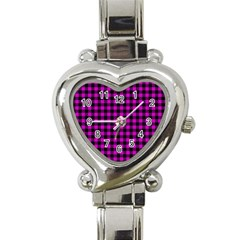 Lumberjack Fabric Pattern Pink Black Heart Italian Charm Watch by EDDArt