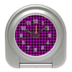 Lumberjack Fabric Pattern Pink Black Travel Alarm Clocks