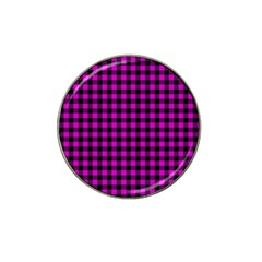 Lumberjack Fabric Pattern Pink Black Hat Clip Ball Marker (4 Pack)
