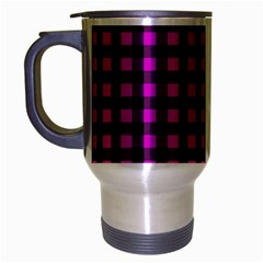 Lumberjack Fabric Pattern Pink Black Travel Mug (silver Gray) by EDDArt