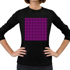 Lumberjack Fabric Pattern Pink Black Women s Long Sleeve Dark T Shirts by EDDArt