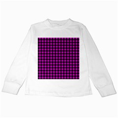 Lumberjack Fabric Pattern Pink Black Kids Long Sleeve T-shirts by EDDArt