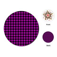 Lumberjack Fabric Pattern Pink Black Playing Cards (round)  by EDDArt