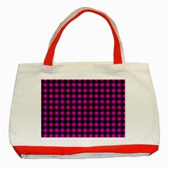Lumberjack Fabric Pattern Pink Black Classic Tote Bag (red) by EDDArt