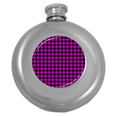 Lumberjack Fabric Pattern Pink Black Round Hip Flask (5 Oz)