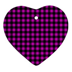 Lumberjack Fabric Pattern Pink Black Heart Ornament (two Sides)
