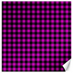 Lumberjack Fabric Pattern Pink Black Canvas 16  X 16