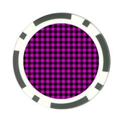 Lumberjack Fabric Pattern Pink Black Poker Chip Card Guard by EDDArt