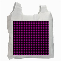 Lumberjack Fabric Pattern Pink Black Recycle Bag (two Side)  by EDDArt
