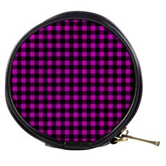 Lumberjack Fabric Pattern Pink Black Mini Makeup Bags by EDDArt