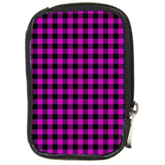 Lumberjack Fabric Pattern Pink Black Compact Camera Cases