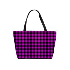 Lumberjack Fabric Pattern Pink Black Shoulder Handbags