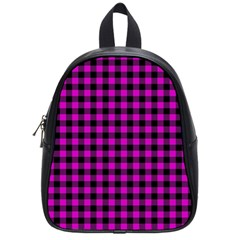 Lumberjack Fabric Pattern Pink Black School Bags (small)  by EDDArt