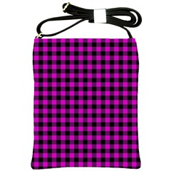 Lumberjack Fabric Pattern Pink Black Shoulder Sling Bags by EDDArt
