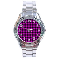 Lumberjack Fabric Pattern Pink Black Stainless Steel Analogue Watch by EDDArt