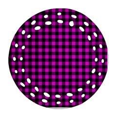 Lumberjack Fabric Pattern Pink Black Ornament (round Filigree)