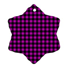 Lumberjack Fabric Pattern Pink Black Snowflake Ornament (two Sides) by EDDArt