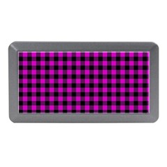Lumberjack Fabric Pattern Pink Black Memory Card Reader (mini) by EDDArt