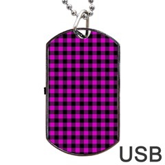 Lumberjack Fabric Pattern Pink Black Dog Tag Usb Flash (two Sides)