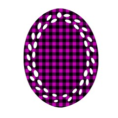 Lumberjack Fabric Pattern Pink Black Ornament (oval Filigree) by EDDArt