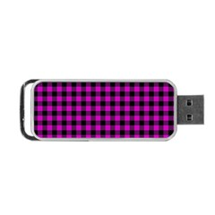 Lumberjack Fabric Pattern Pink Black Portable Usb Flash (two Sides) by EDDArt